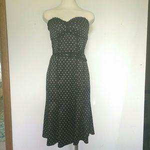 Bebe silk bandeau polka dot dress